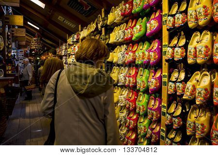 ZAANSE-SCHANS, NETHERLANDS - MAY 9, 2013: It is store with finished products of the Ethnic Factory Museum of clogs (klomp).