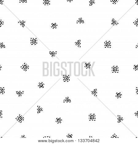 Vector illustration of boho style seamless pattern. Bohemian black icons background. Hand drawn. Isolated on white background.