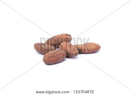 Roasted cacao beans isolated on white background