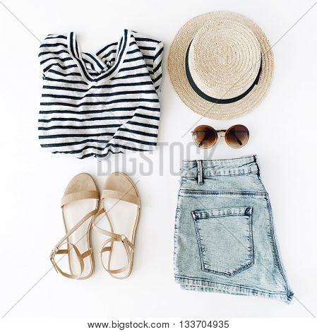woman summer clothes collage on white flat lay top view