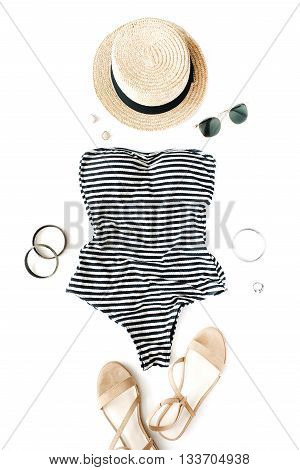 woman swimsuit beach accessories collage on white background flat lay top view