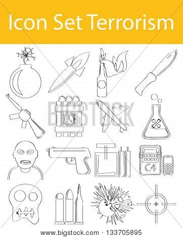 Drawn Doodle Lined Icon Set Terrorism