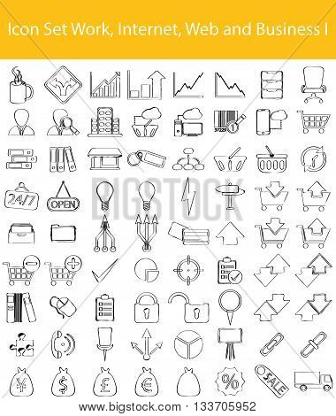 Drawn Doodle Lined Icon Set Work Internet Web and Business I with 72 icons for the creative use in graphic design