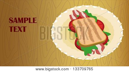 Banner / flyer with a delicious sandwich on a plate with a napkin. Graphic arts