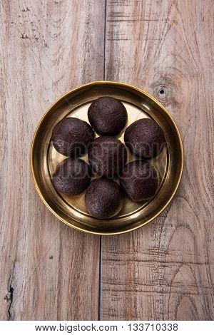 Indian famous sweet food kala jam or kala jamun or gulab jamun