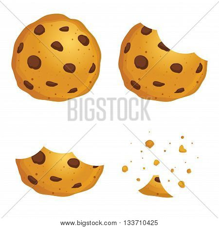 Vector stock of chocolate chip cookies in different eating stages