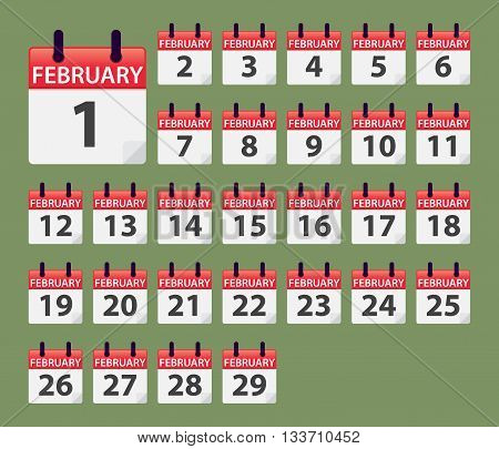 Vector stock of February Daily Calendar template icon collections