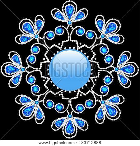 illustration shiny snowflake made of precious stones on black background