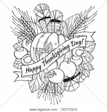 Thanksgiving Day greeting card with spikes, feathers, chestnuts, vegetables and fruits in cartoon style on. Black and white
