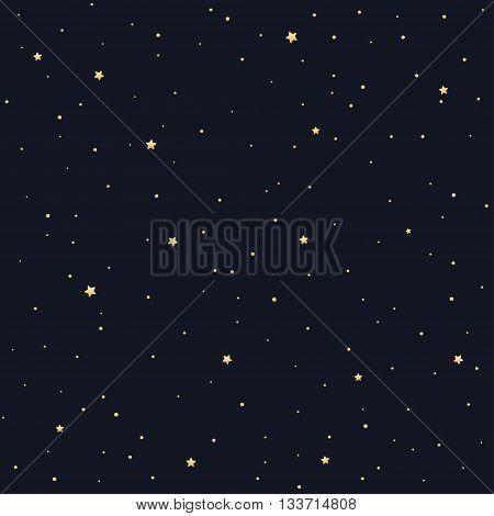 Seamless star pattern. Tileable vector texture. Golden stars on black background.