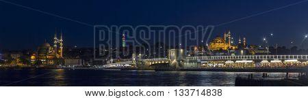 Iconic Istanbul panorama at night during Ramadan