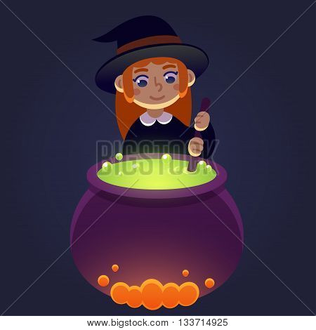 Little witch stirring potion in cauldron. Young girl in witch costume cute cartoon Halloween illustration.