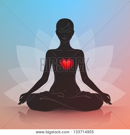 Woman is sitting in lotus position. Red heart. Dark silhouette. Symbol of lotus flower at background. Harmony and tranquility in heart and thoughts