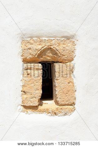 Window of Church Agios Georgios Sarantaris in Hersonissos on Crete island Greece.
