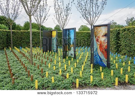 Appeltern The Netherlands July 22 2015: The Gardens of Appeltern is the inspiration garden park in the Netherlands. In this picture a garden inspired by Vincent van Gogh.