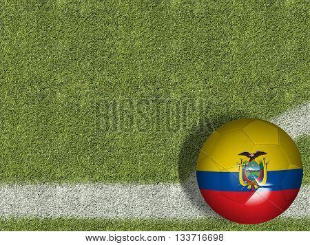 Ecuador Ball in a Soccer Field