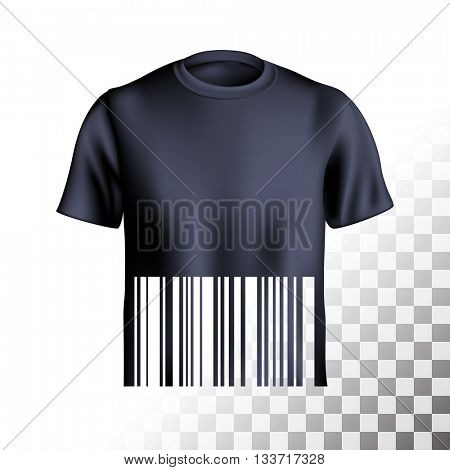 Men's t-shirt design template with barcode