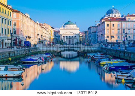 Trieste -  Italy February of 2015: View of Grand Canal in the city of Trieste