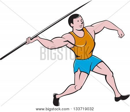 Illustration of a track and field athlete javelin throw viewed from side set on isolated white background done in cartoon style.