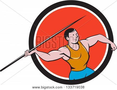 Illustration of a track and field athlete javelin throw viewed from side set inside circle on isolated background done in cartoon style.