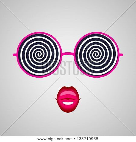 Big round hypnotizing pink-rimmed glasses and kissing lips. Hypnotic look and magic beauty
