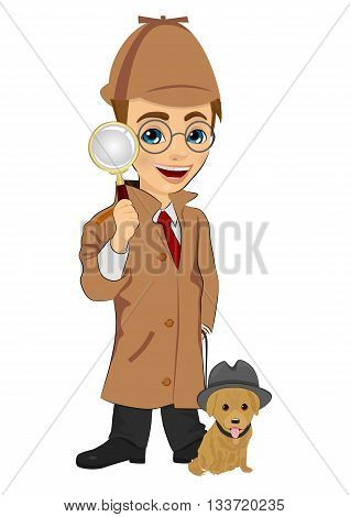 Detective boy with dog holding magnifying glass isolated over white background