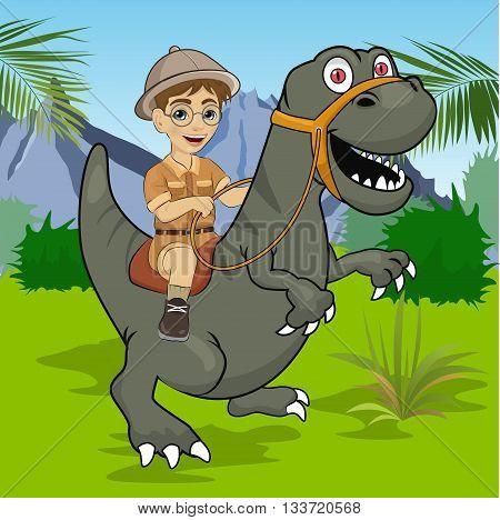 Little boy explorer riding a dinosaur velociraptor in the jungle