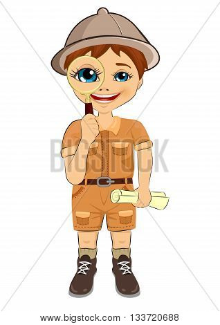 kid explorer boy with safari hat holding magnifying glass and treasure map isolated over white background