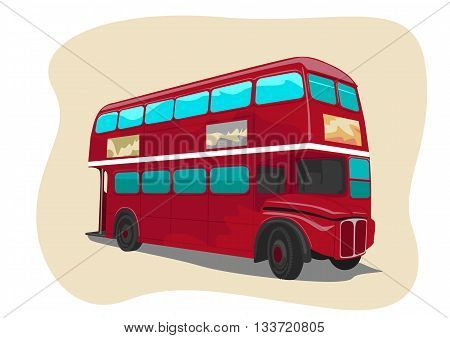 Red traditional double decker London bus. Vector illustration