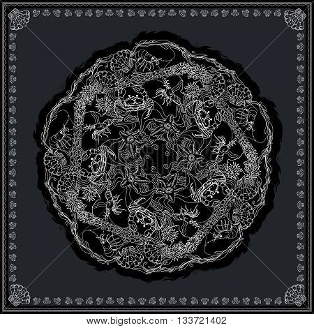 Black and white bandana square pattern design for print on fabric. Kerchief or neck scarf style. Mandala vector illustration with crabs, shrimps, starfishes and alga.