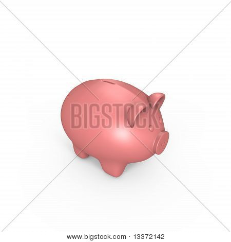 A pink piggy bank - a 3d image