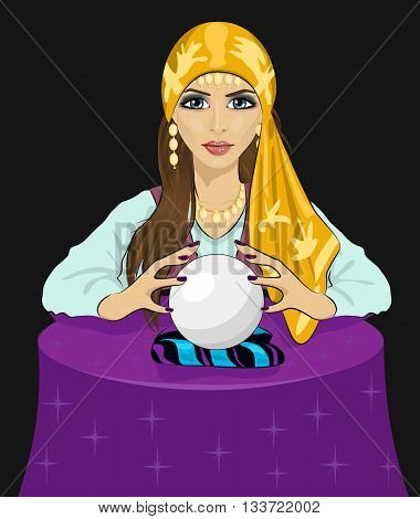 Young fortune teller woman reading future on a magical crystal ball over black backround