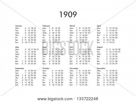 Calendar Of Year 1909