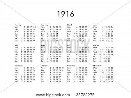 Calendar Of Year 1916