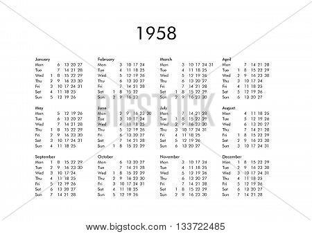 Calendar Of Year 1958