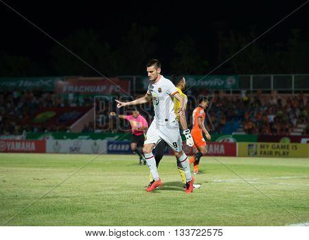 PRACHUAPKIRIKAN THAILAND-MAR 9 2016: Hristijan KirovskiMacedonia national team Player of prachuap fc in action during prachuap fc vs rayong fc in league1 at prachuap stadium thailand