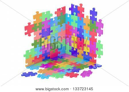 Puzzle Pieces 3D rendering isolated on white background