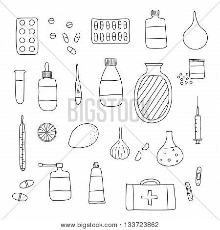 Hand drawn outline medical items isolated on white background. Pills hot water bottle lemon plaster first aid box thermometer garlic inhalator syringe ointment drops test tube.