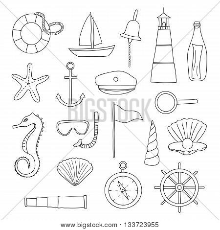 Hand drawn outline nautical items on white background. Sailboat lighthouse anchor shell starfish compass spyglass wheel lifebuoy loupe pearl snorkel mask seahorse bottle sailor suite.