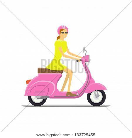 Moped Flat vector illustration. Girl. Retro design