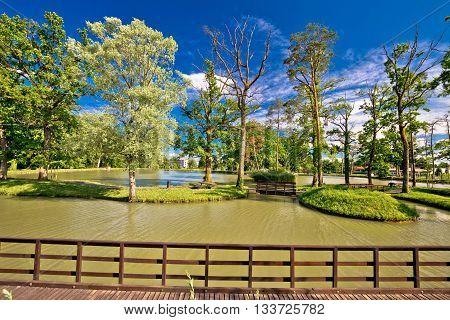 Lake park in town of Jastrebarsko green nature of northern Croatia