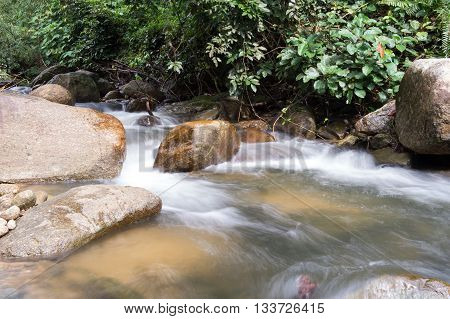 Un-focus Image Of Brook And Rocks In The Mountains At Kiriwong Village, Nakorn Sri Thammarat , Thail