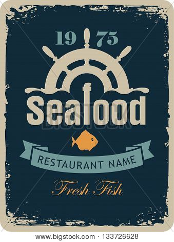 banner for the seafood restaurant with a ship helm and fish in a retro style