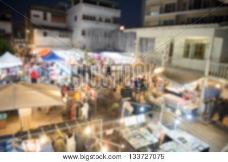 Blurred night huahin market top view ,thailand
