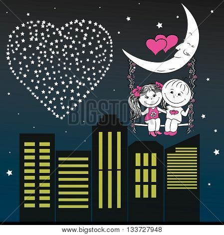 Loving couple man and woman sitting on the moon swing in the night city vector