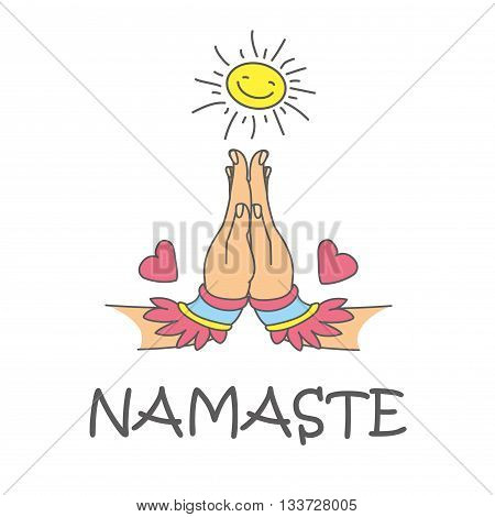 Welcome gesture of hands of Indian woman character in Namaste mudra on insulated background in vector