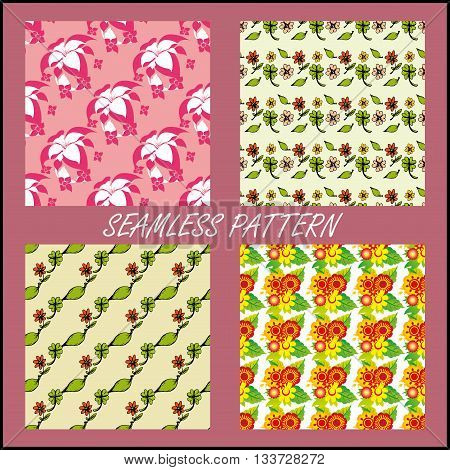 Set Seamless pattern with ornamental flowers.Seamless pattern can be used for wallpaper pattern fills web page backgrounds surface textures.