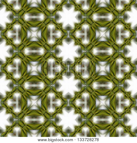 Seamless abstract kaleidoscopic green eco pattern on the clean white background for fabric design