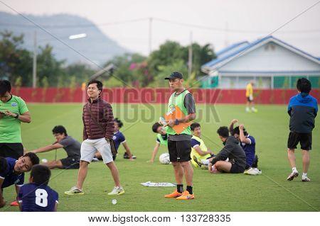 Huahin Thailand-jan25,2016 :  Thaiport Fc Of League1 Thailand  During Training Pre-season At True Ar