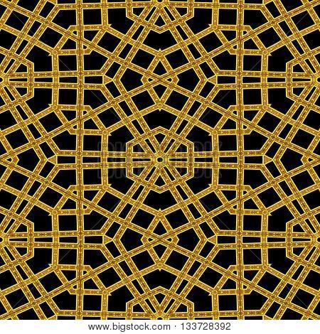 Seamless kaleidoscopic golden arabic railing pattern in mosque